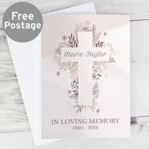 Personalised Floral Cross Card