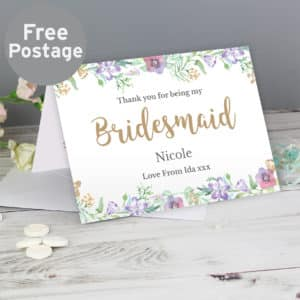 Personalised Bridesmaid 'Floral Watercolour Wedding' Card