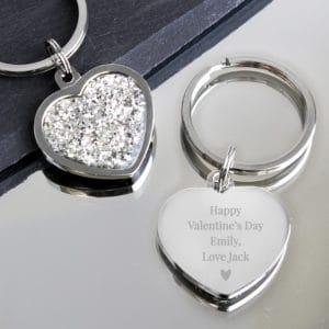 Personalised Free Text Diamante Heart Keyring