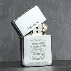 Personalised Vintage Typography Lighter