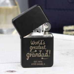Personalised 'World's Greatest Grandad' Black Lighter