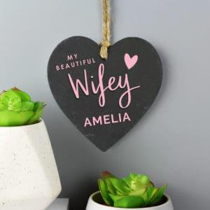Personalised Wifey Slate Heart Decoration
