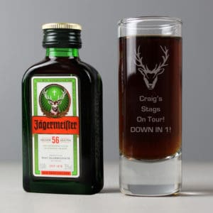 Personalised Stag Shot Glass and Miniature Jagermeister