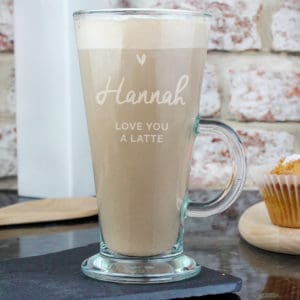 Personalised Heart Latte Glass