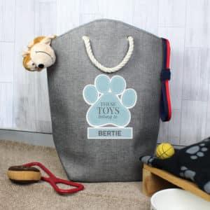 Personalised Blue Paw Print Storage Bag