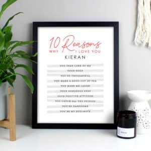 Personalised 10 Reasons Why I Love You Black Framed Print