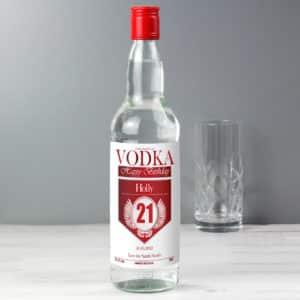 Personalised Birthday Red & Silver Vodka
