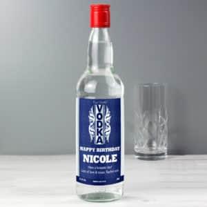 Personalised Blue & Silver Stripe Vodka