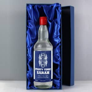 Personalised Blue & Silver Stripe Vodka with Gift Box