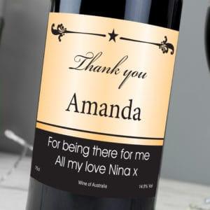 Personalised Black Border Red Wine