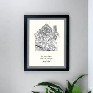 Personalised 1805 - 1874 Old Series Map Home Black Framed Print