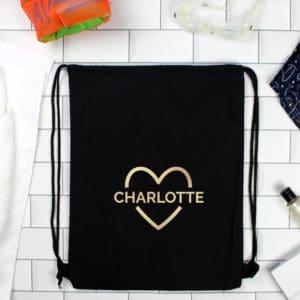 Personalised Gold Heart Swim & Kit Bag