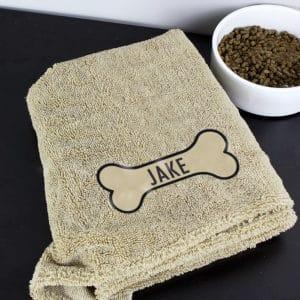 Personalised Bone Brown Microfiber Pet Towel