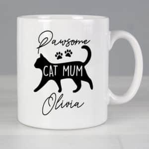 Personalised Pawsome Cat Mum Mug