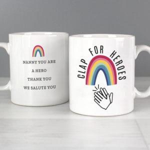 Personalised Rainbow 'Clap for Heroes' Mug
