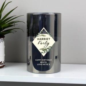 Personalised Botanical Smoked Glass LED Candle