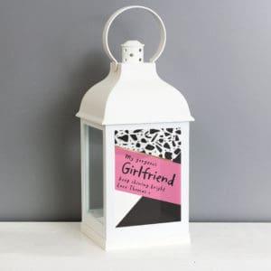 Personalised Pink & Black White Lantern