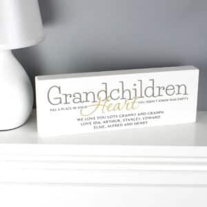 Personalised Grandchildren Wooden Block Sign