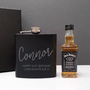 Black Hip Flask and Miniature Jack Daniels