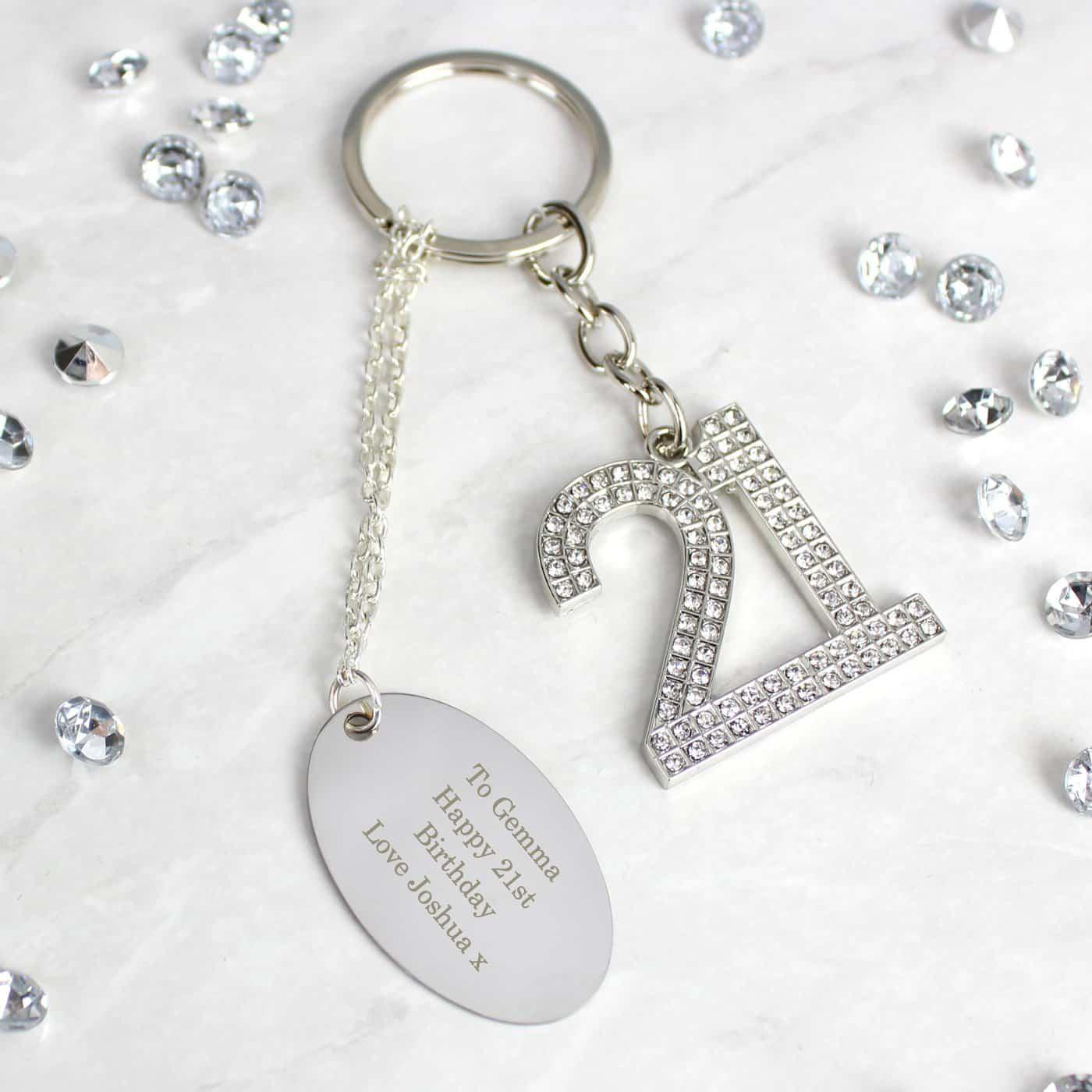 Personalised Free Text Diamante 21 Keyring