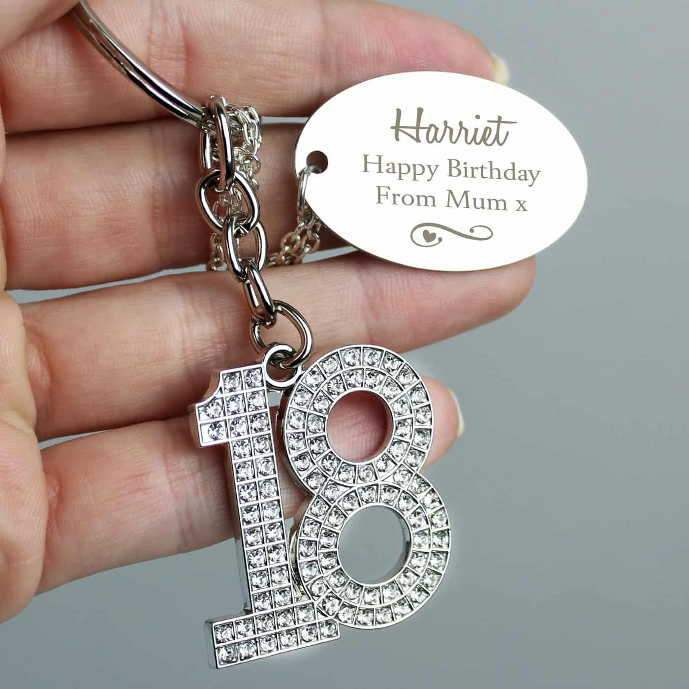 Personalised Swirls & Hearts Diamante 18 Keyring