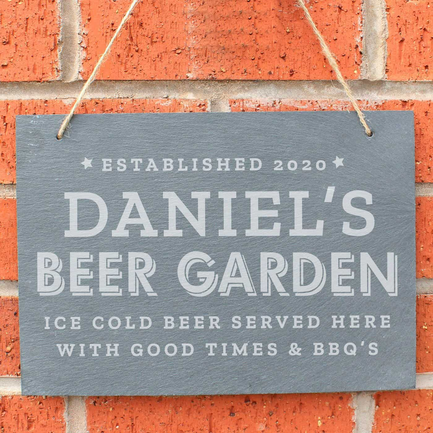 Personalised Beer Garden Hanging Large Slate Sign