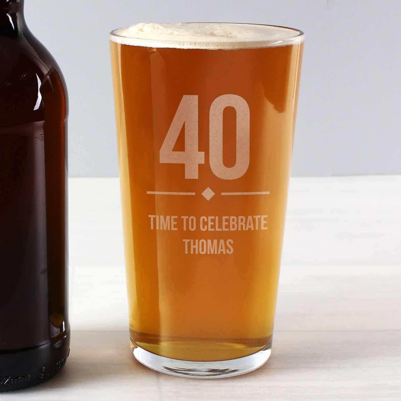 Personalised Big Age Birthday Pint Glass