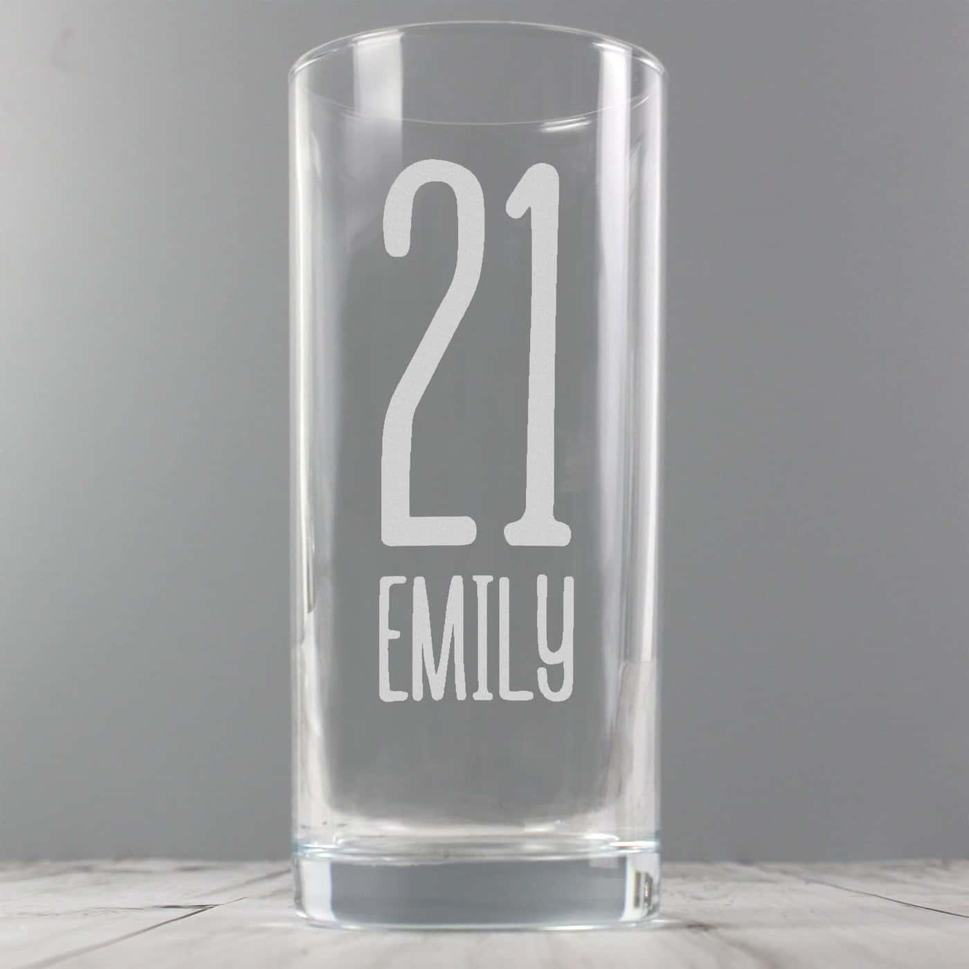 Personalised Big Age Hi Ball Glass