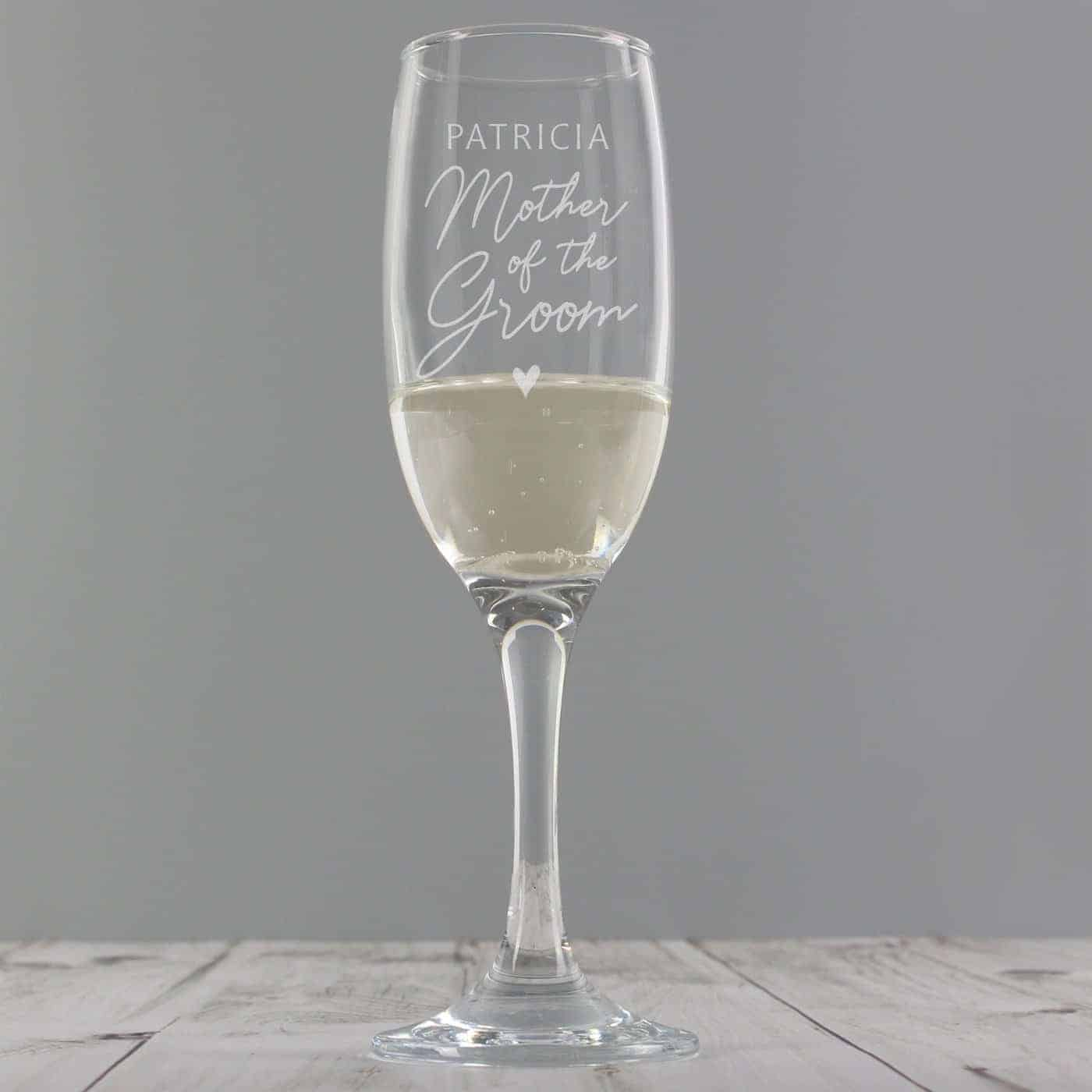 Personalised Mother of the Groom Flute Glass
