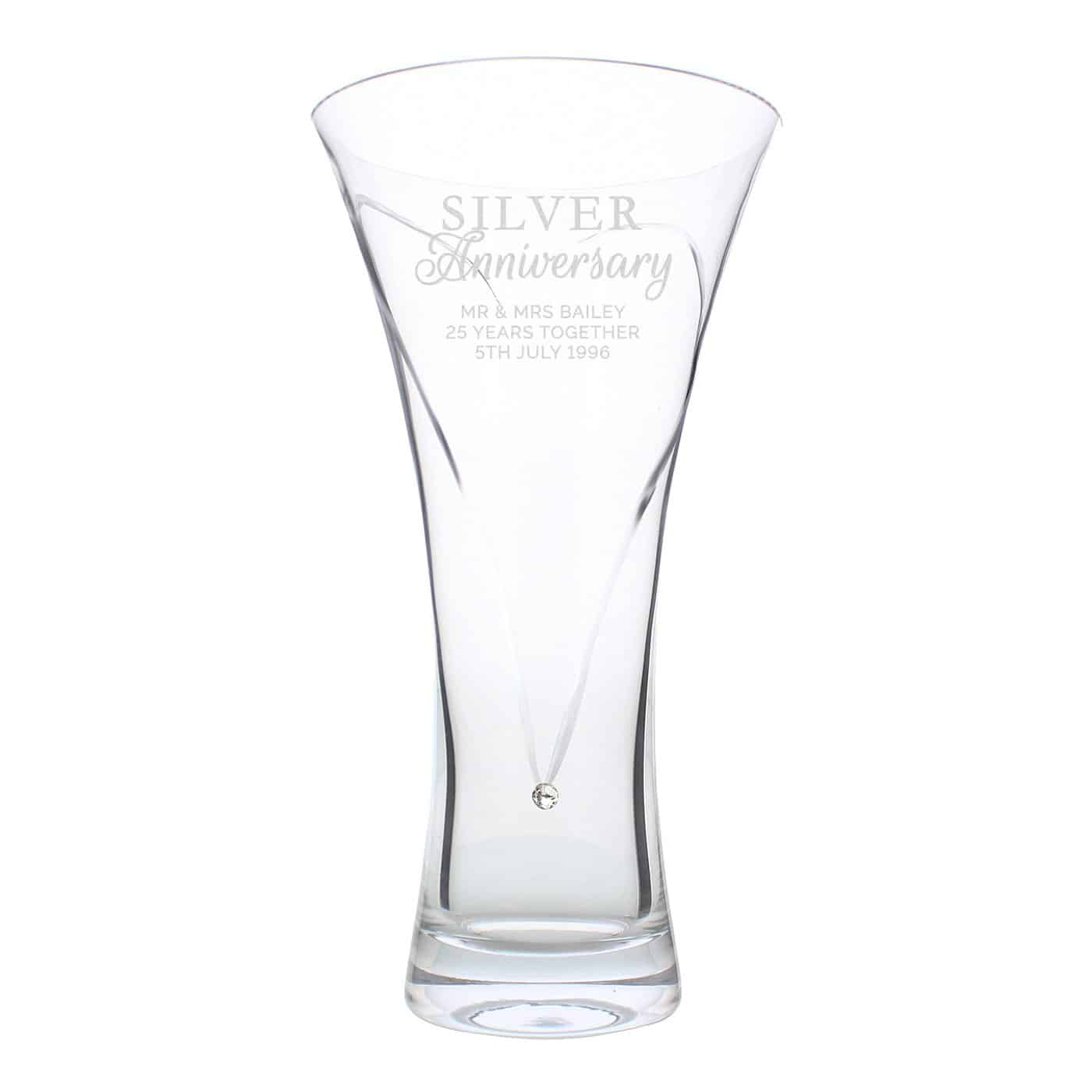 Personalised Silver Anniversary Large Hand Cut Diamante Heart Vase with Swarovski Elements