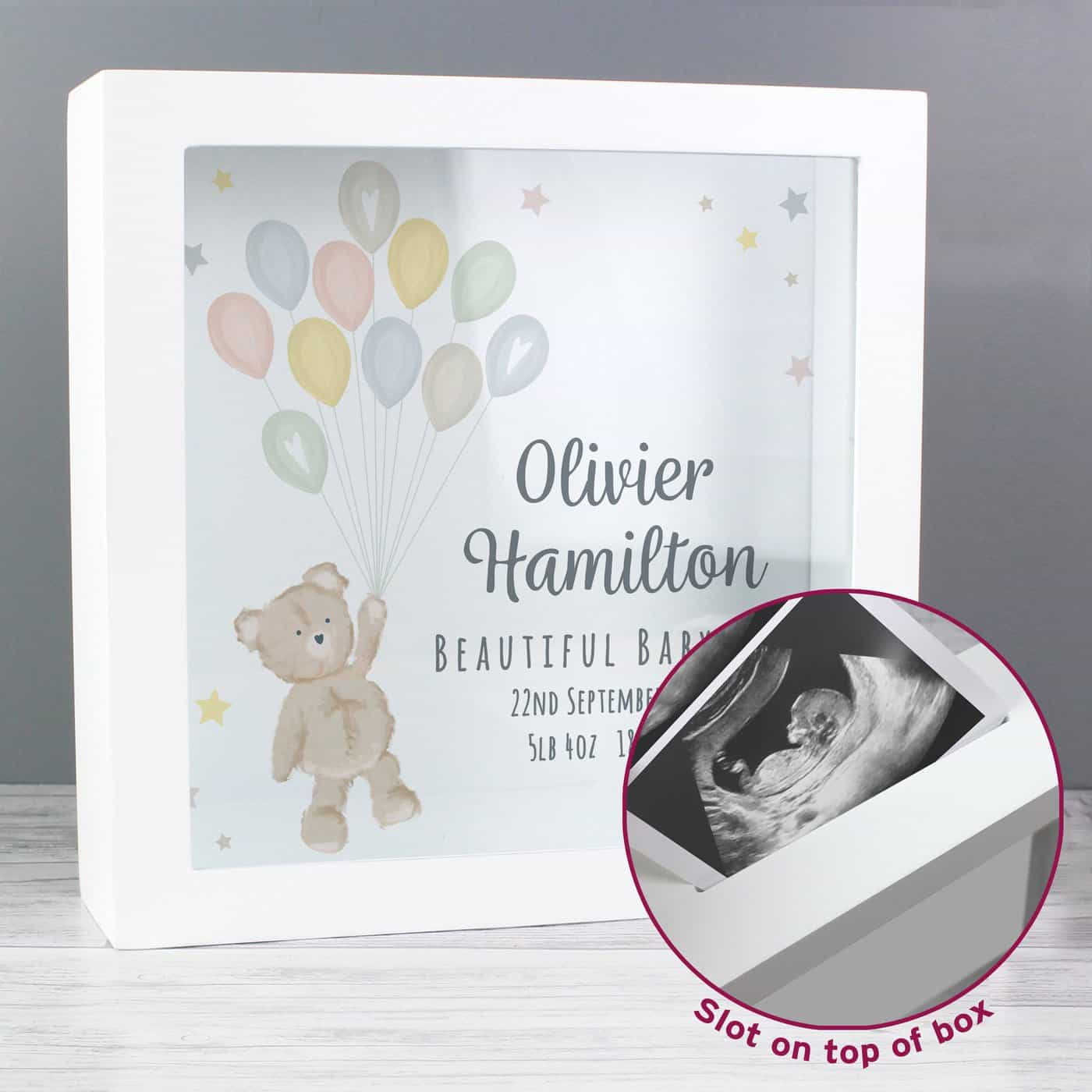 Personalised Teddy & Balloons Fund Box