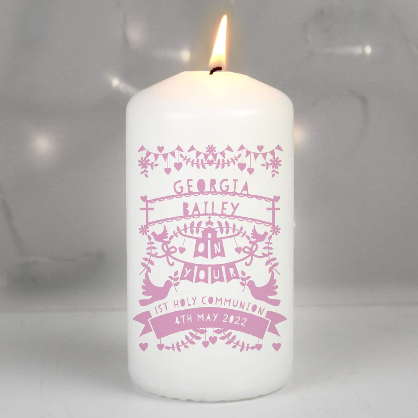 Personalised Pink Papercut Style Pillar Candle