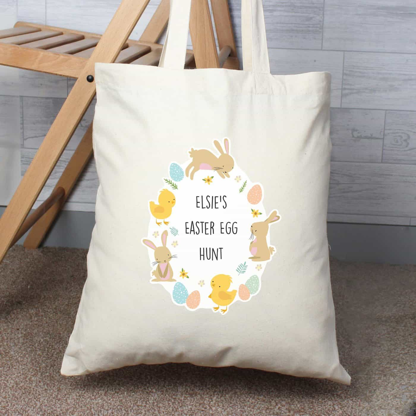 Personalised Easter Bunny & Chick Cotton Bag