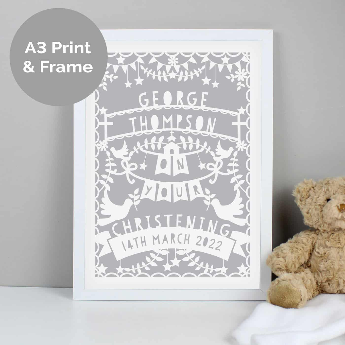 Personalised Grey Papercut Style A3 White Framed Print