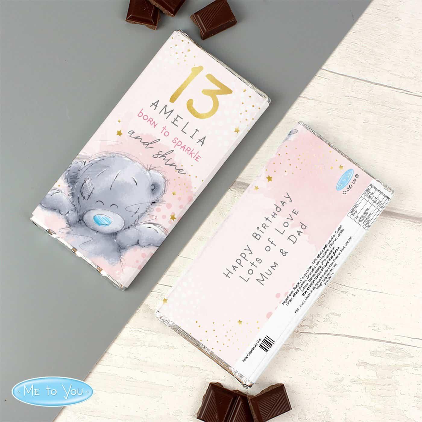 Personalised Me To You Sparkle & Shine Birthday Milk Chocolate Bar