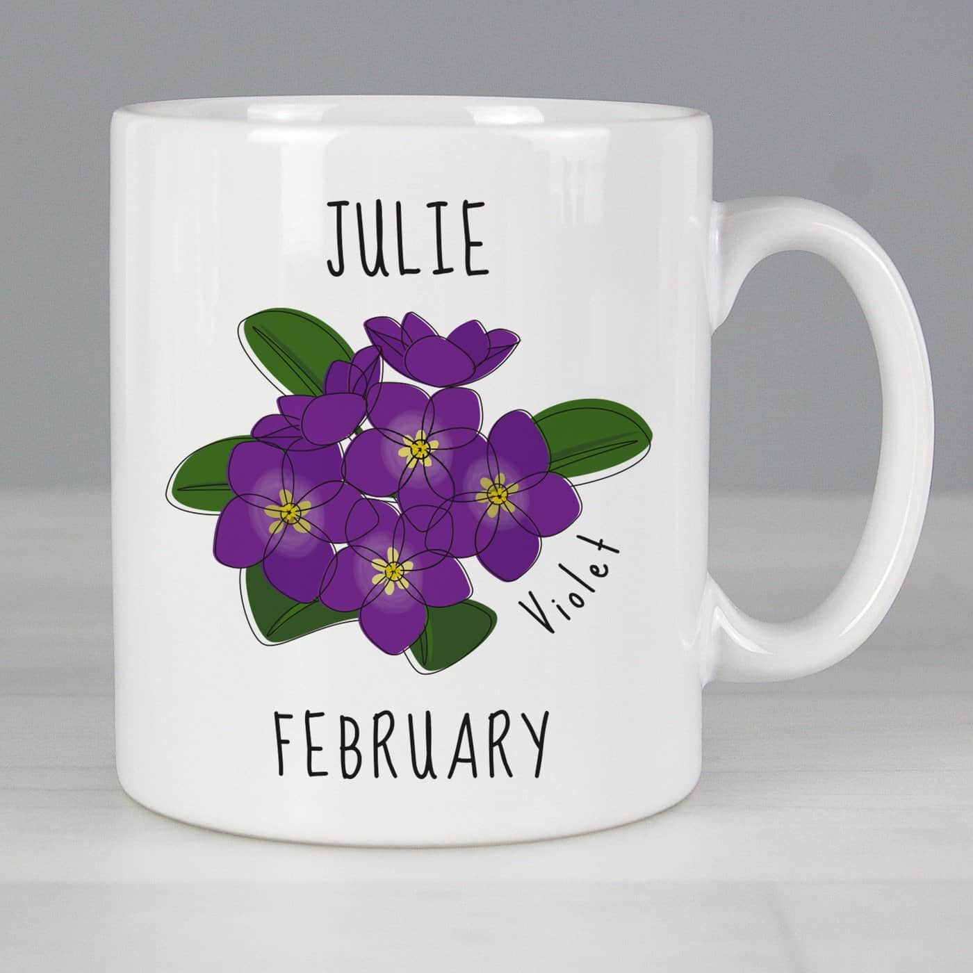Personalised February Birth Flower - Violet Mug