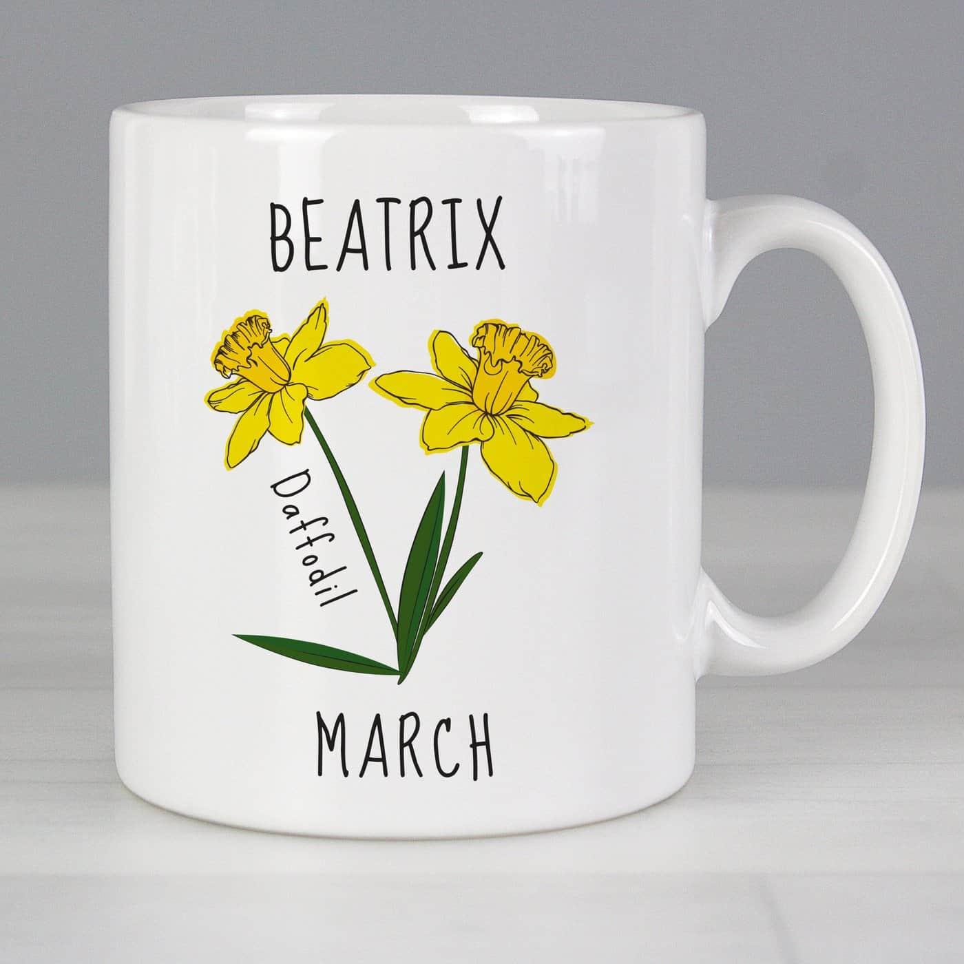 Personalised March Birth Flower - Daffodil Mug
