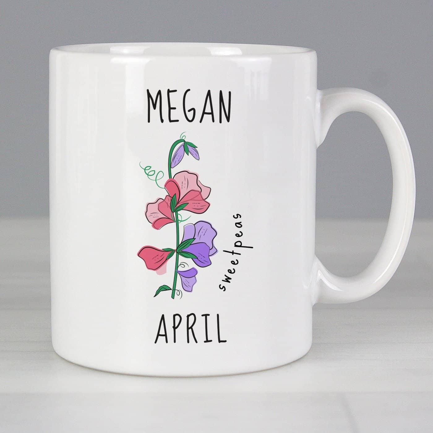 Personalised April Birth Flower - Sweet Peas Mug