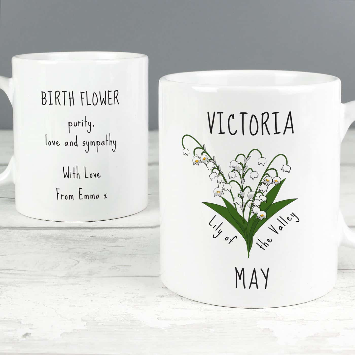 Personalised May Birth Flower - Lily Of The Valley Mug