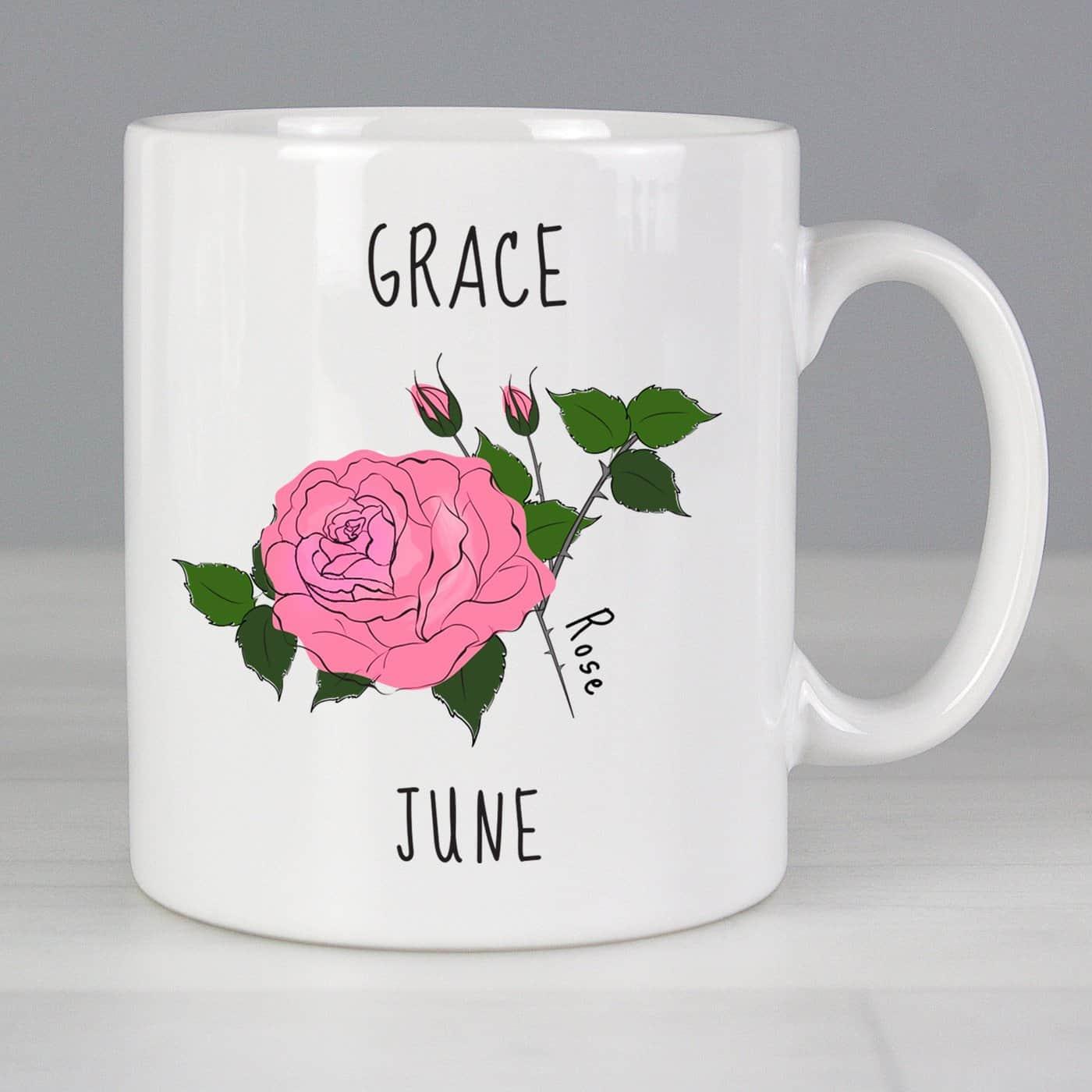 Personalised June Birth Flower - Rose Mug
