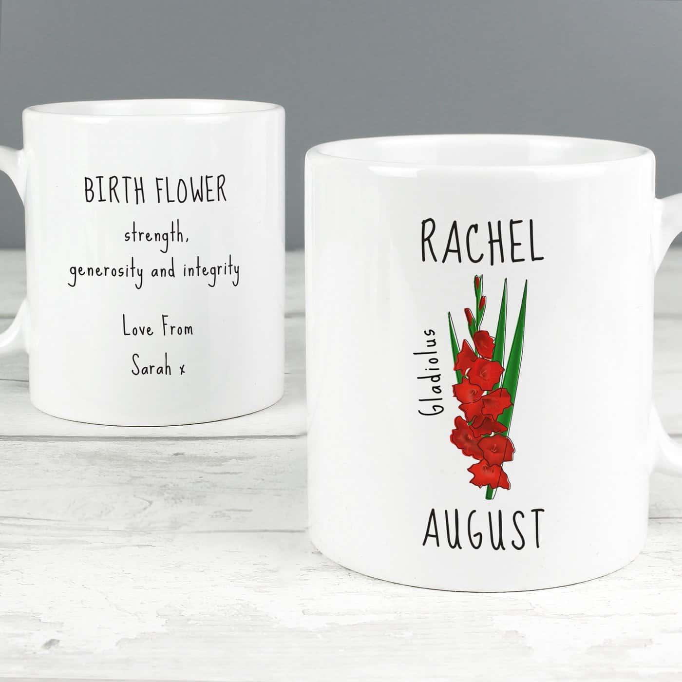 Personalised August Birth Flower - Gladioli Mug