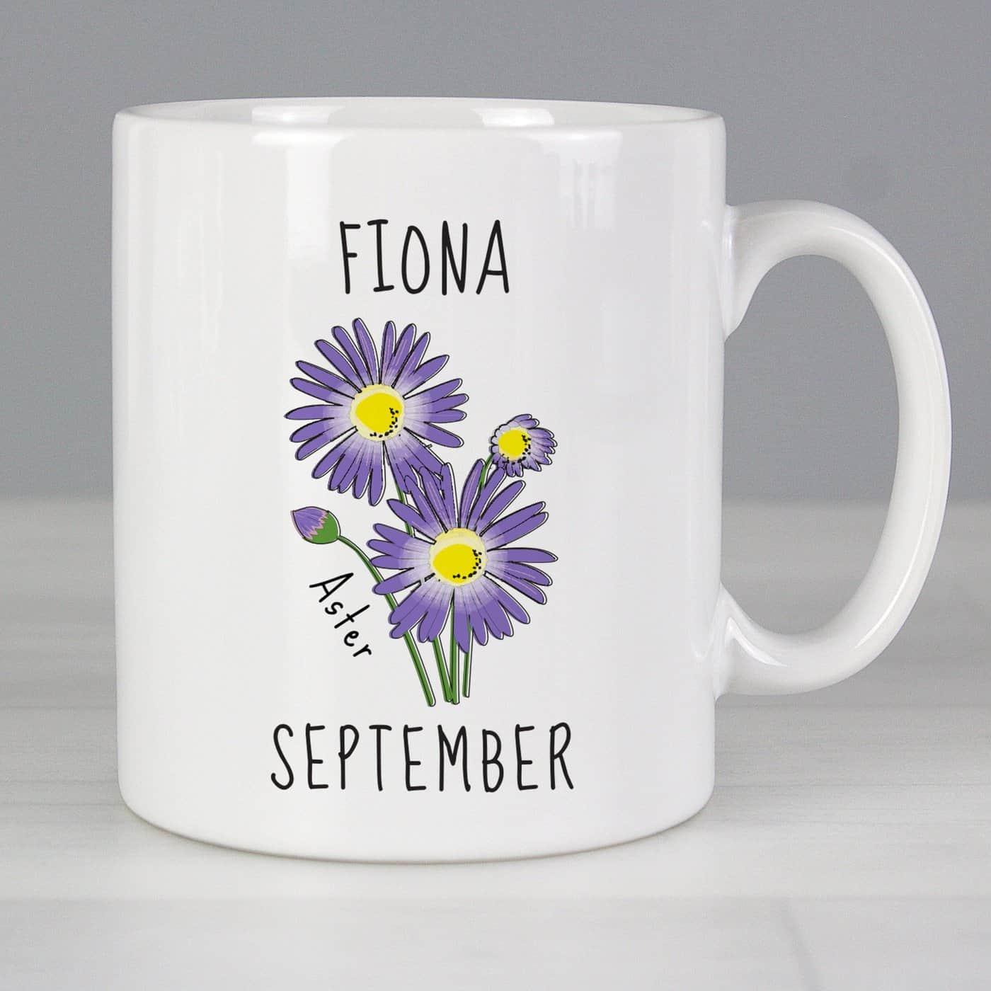 Personalised September Birth Flower - Aster Mug