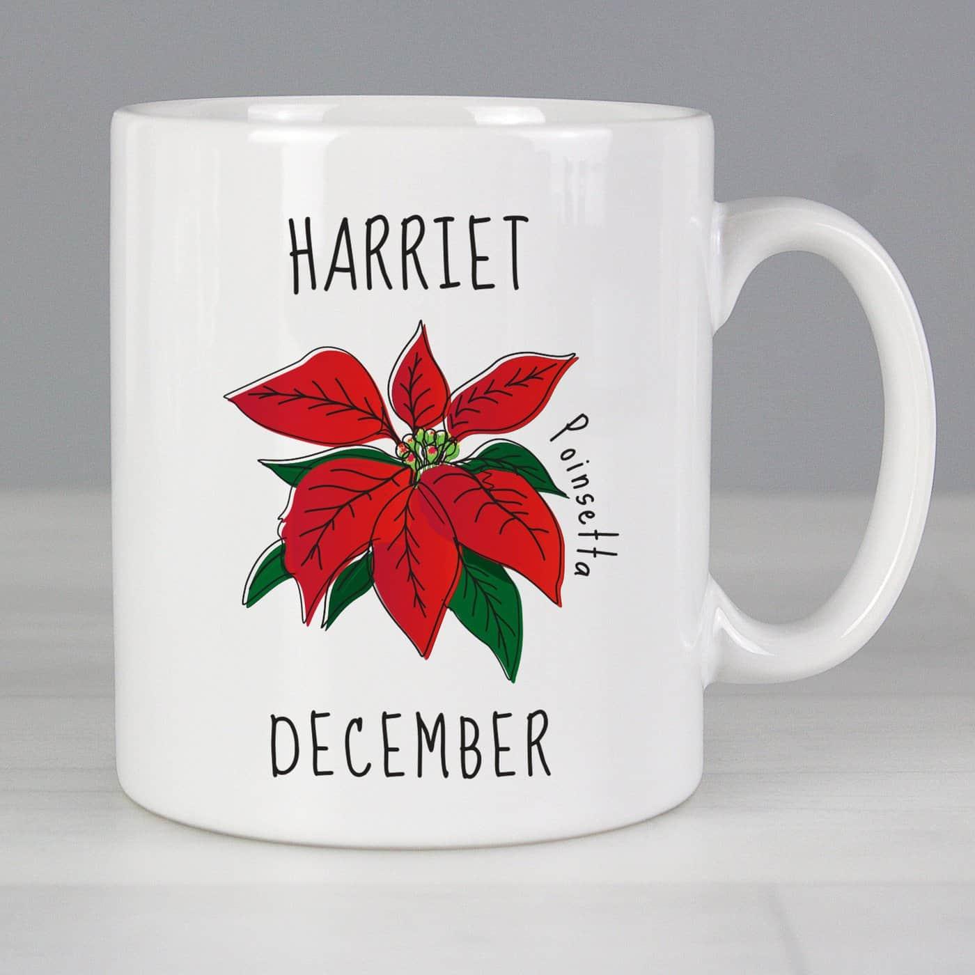 Personalised December Birth Flower - Poinsetta Mug