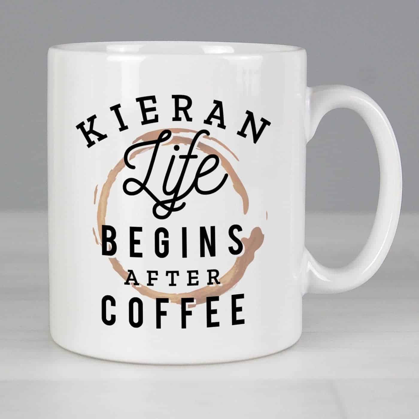 Personalised Life Begins After Coffee Mug