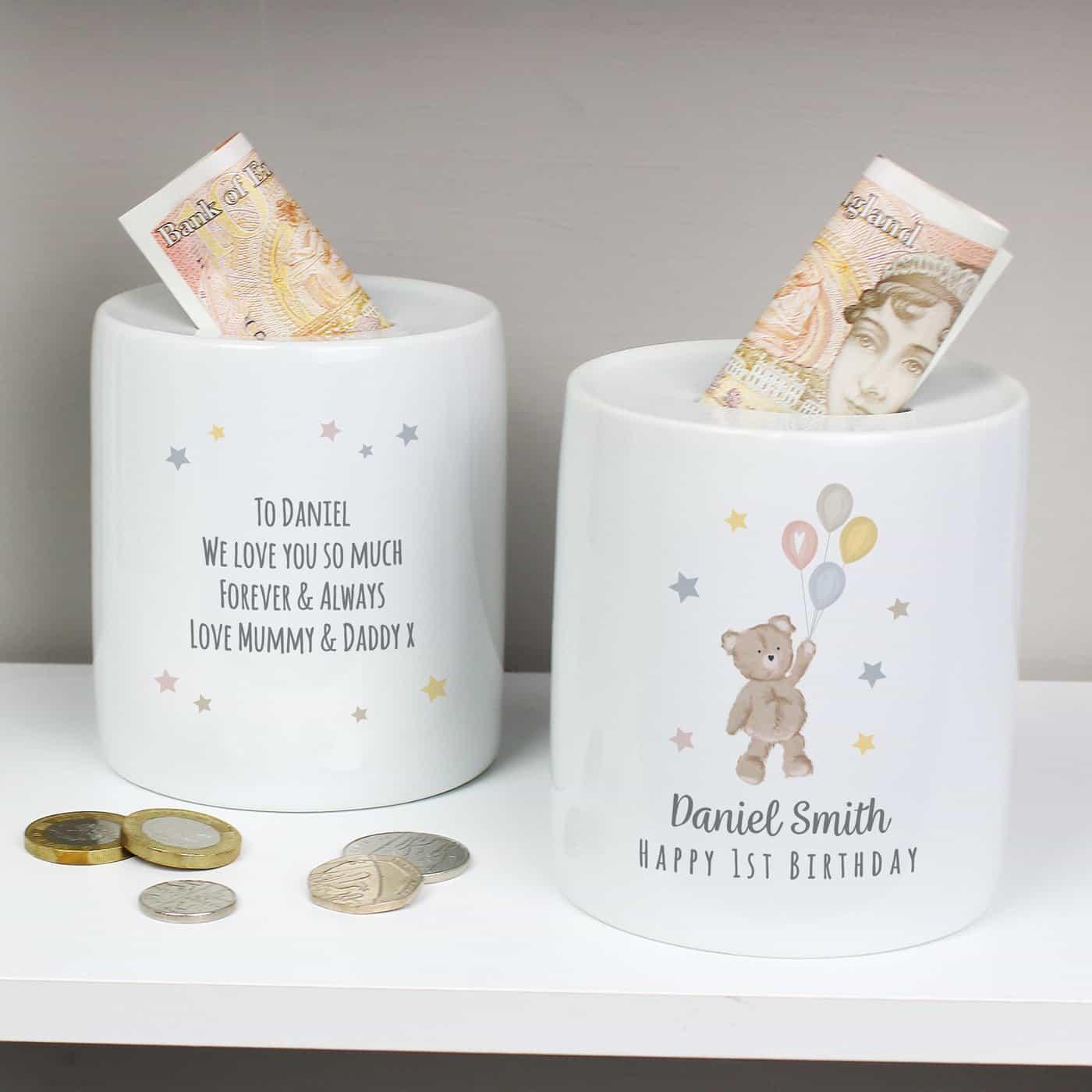 Personalised Teddy & Balloons Money Box