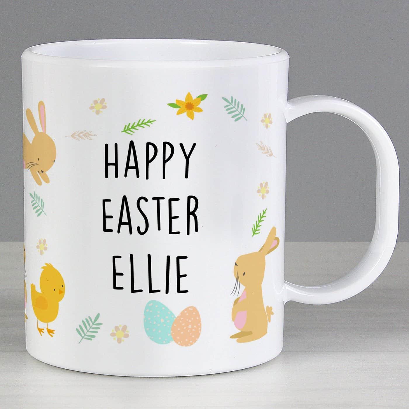 Personalised Easter Bunny & Chick Plastic Mug
