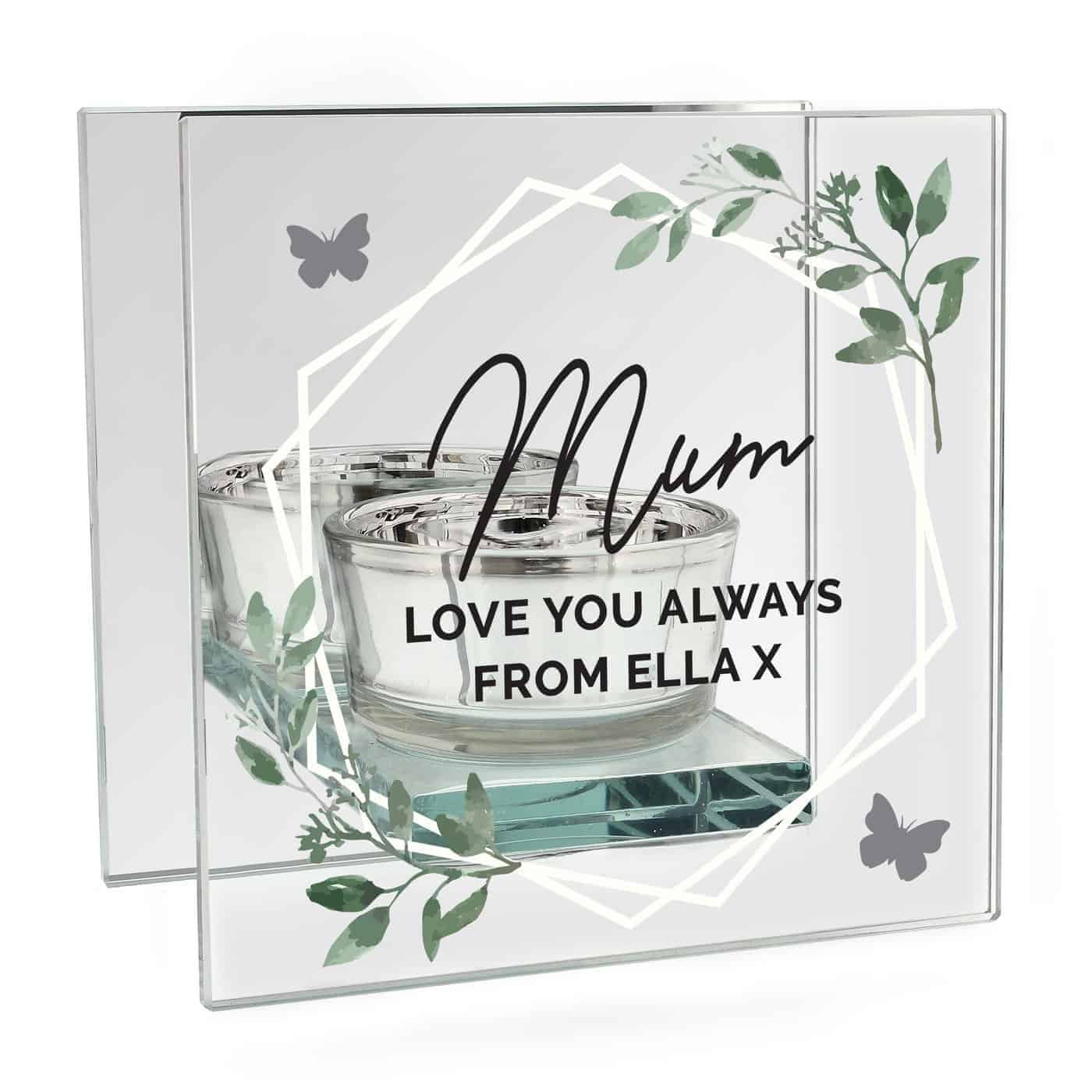 Personalised Botanical Mirrored Glass Tea Light Candle Holder