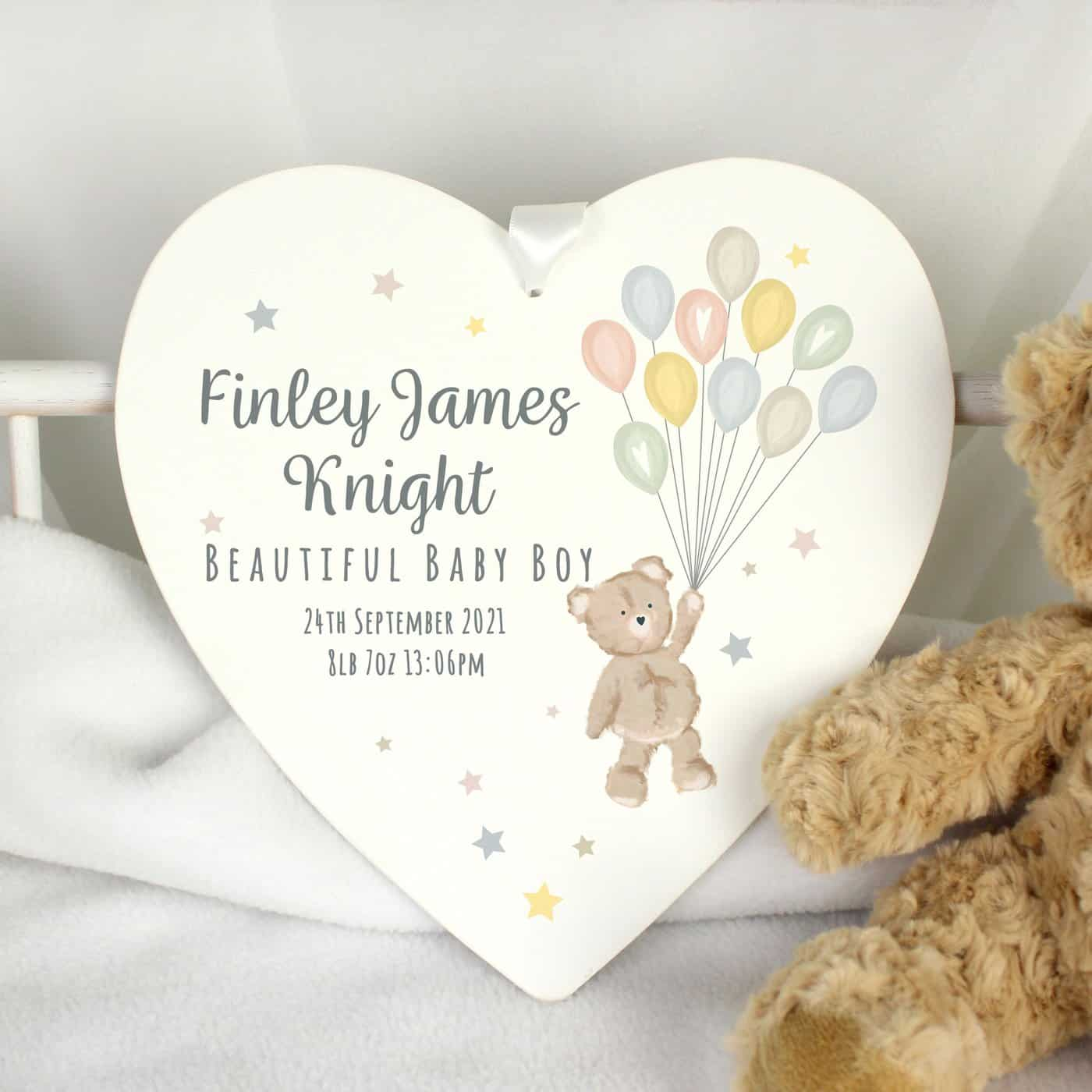 Personalised Teddy & Balloons White Wooden Heart