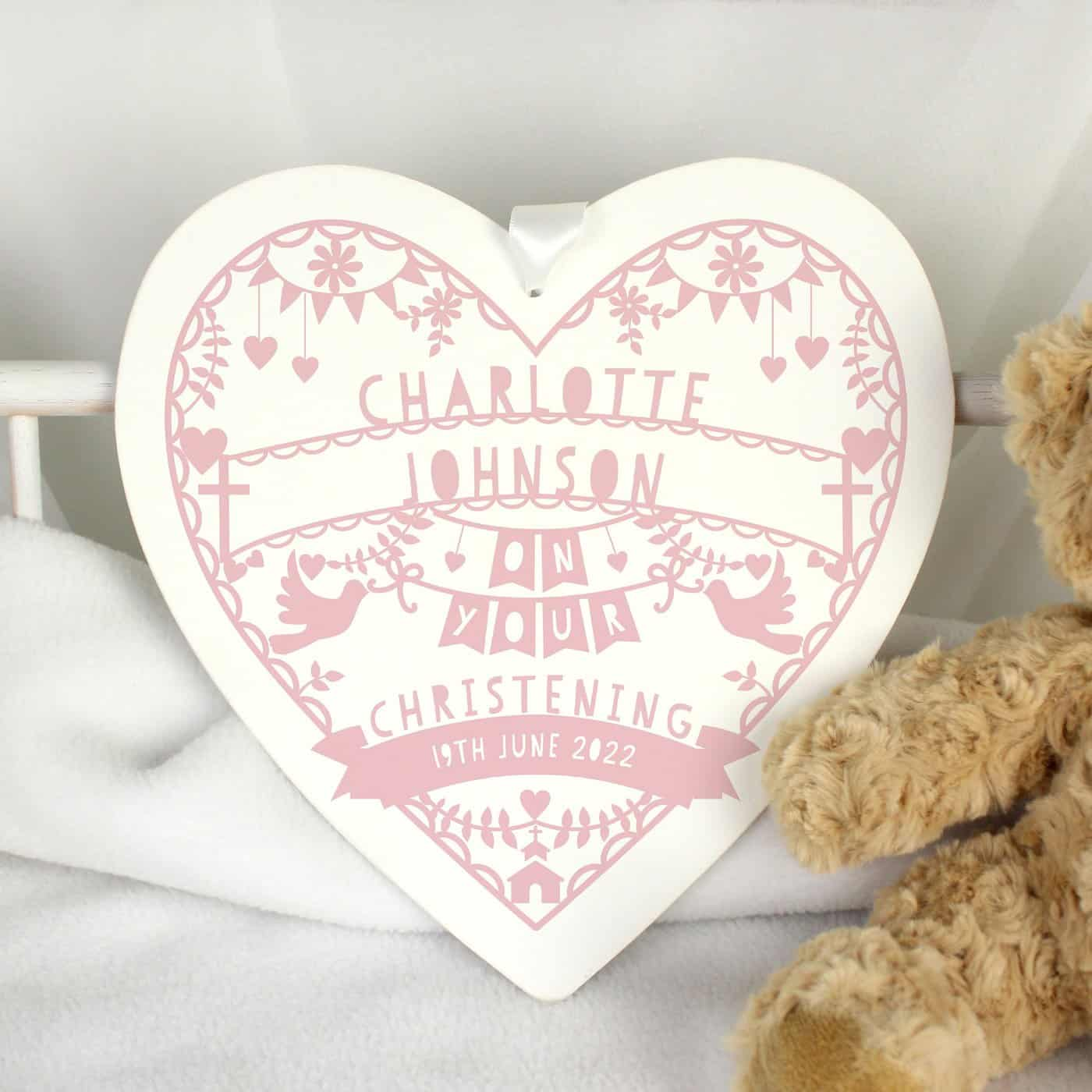 Personalised Pink Papercut Style Large Wooden Heart