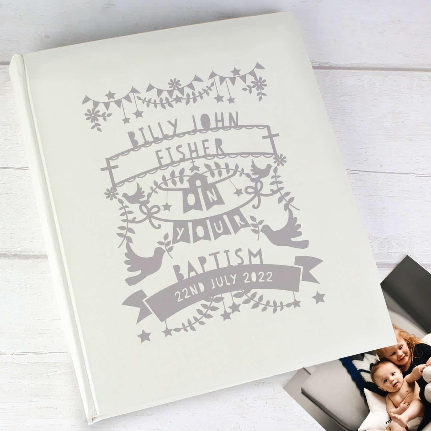 Personalised Grey Papercut Style Photo Album